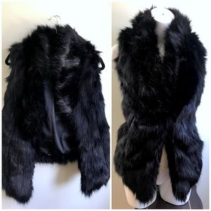 Urban Outfitters Black Faux Fur Collared Open Vest